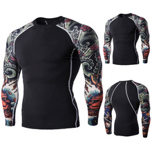 Latest design men OEM branded compression t shirts Hot Sale New spring high-elastic cotton t-shirts men's long sleeve