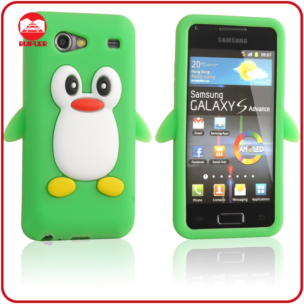 Cute Soft 3D Animal Penguin Design Silicone Case for Samsung Galaxy S Advance I9070