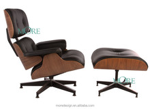 Classic Lounge Chair and Ottoman,,Black and Walnut Lounge Chair / Aniline Leather