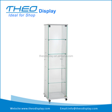 Mobile 4 Shelf Lockable Doors Glass Display Tower Showcase
