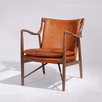 Antique style UK tan wood leather chair Famous replica 45 lounge chair designed by Finn Juhl
