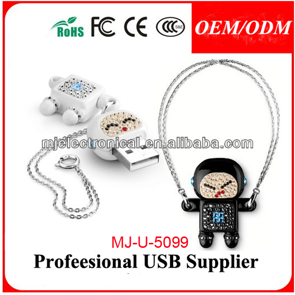 Lovely Crystal Memory Stick Robot Usb Flash Drive,,Jewelry Gift Robots Shape Pen Drive /ThumbdriveWith Necklace