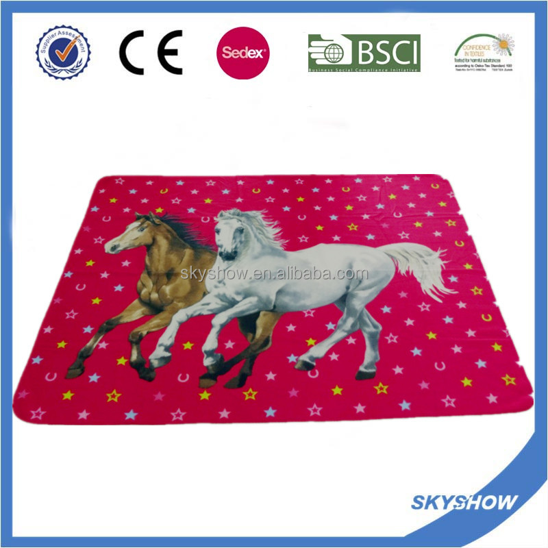 Custom Made Printed Animal Designs Horse Printed Polar Fleece Blanket