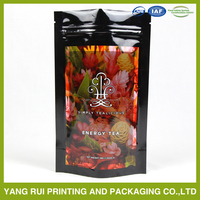 Customized printed stand up tea/coffee packaging bag with ziplock