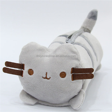 Custom LOGO Cute Soft Kids Toy School Plush Pusheen Cat Pencil Case LOW MOQ Stuffed Animal Plush Pencil Bag