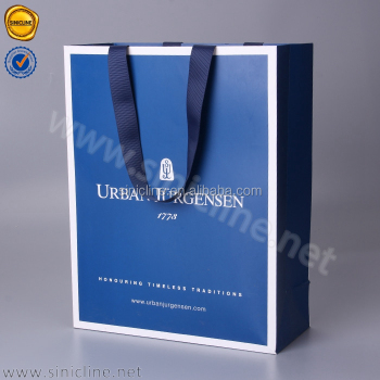 Customized unique paper shopping bag with ribbon handle