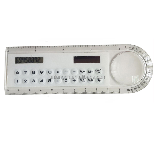 Multi-function Hot Selling 8 Digits Dual Power Ruler Calculator with Magnifier
