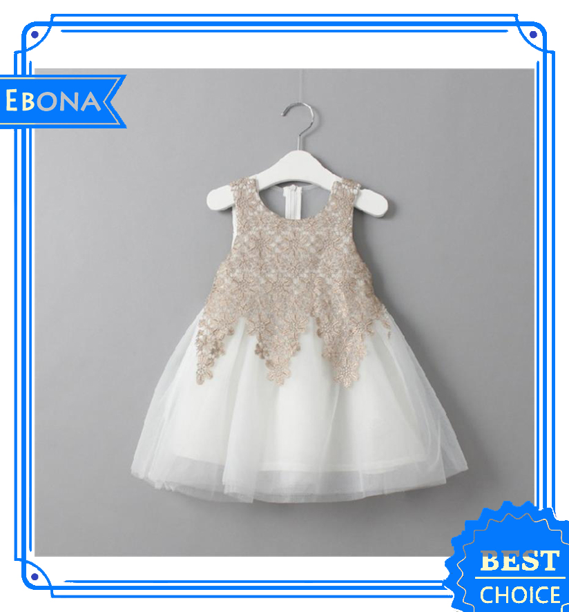 Embroidery Lace Princess Dresses For Kids Sleeveless Children Frocks Designs