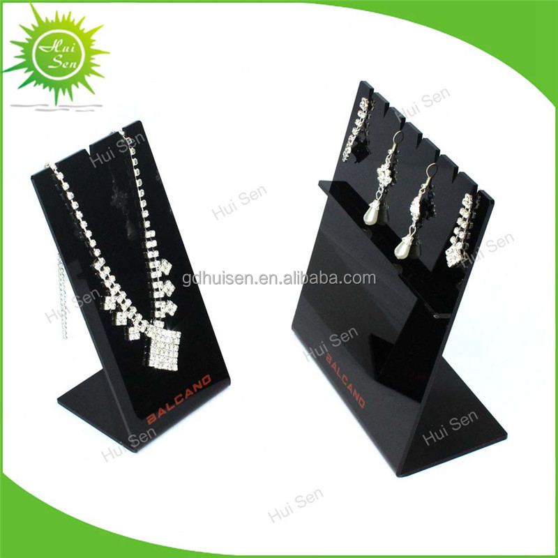 Black Holder Display Rotating Acrylic Necklace and Earring Jewelry Stand