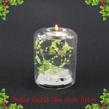 Clear glass dome candle holder with butterfly and led light ornament