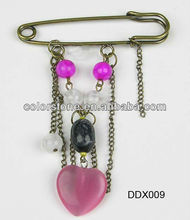 Heart&Round bead chain brooch pin ,brooches with safety pin, costume brooch