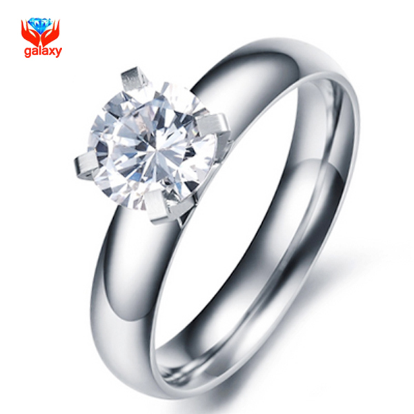 GALAXY Fashion Jewelry Real 18K White Gold Filled Hearts and Arrows 1 Carat CZ Diamond Engagement Wedding Rings For Women YH014