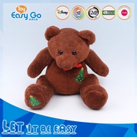 Super Soft Embroidery Pringting Plush Bear Toy Wearing Red Bowknot Christmas bear