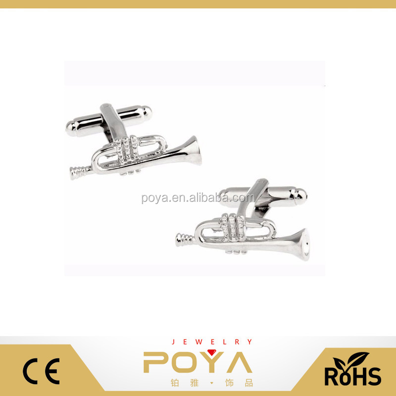 POYA Jewelry Manufacturers Selling Music Series Men's Gift Copper Cufflinks, Horn Shape Quality Pure Copper Business Cufflinks