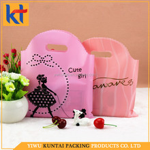 Customized design factory direct deal alibaba supplier perforated plastic bags.handle cosmetic bags