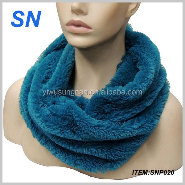 faux rabbit fur loop neck warm winter infinity scarf SNP20