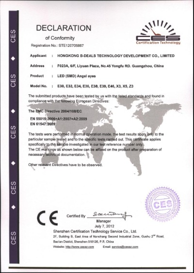CE Certification of SMD angel eyes
