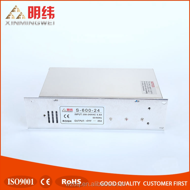 High efficiency S-600-24 ac dc switching power supply ,600w 24v 25a adjustable compact power supply with CE ROHS