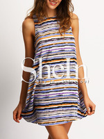 Blue Dress Contract Color Combination Sleeveless Striped Casual Mini Dress For Young Ladies