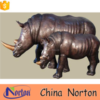 life size bronze rhinoceros statue outdoor decoration NTBH-S724X