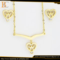 heart shaped 18k gold plated bridal jewelry set for wedding