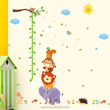 Syene new cartoon animals monkey Elephant height measurement wall sticker height growth chart decal kids baby nursery home decor