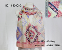 famous brand name costume shawls big size geometry pattern printed scarves woman scarf