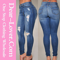 Customized Sexy woman 2016 Denim Destroyed Skinny jeans manufacturers mexico
