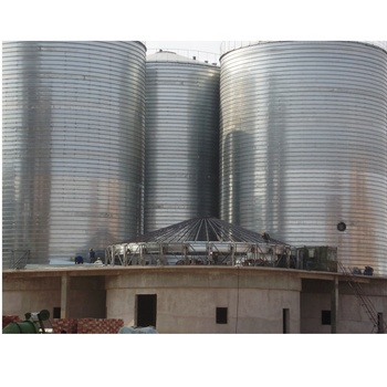 hopper and flat bottom assembly steel storage silo for grain