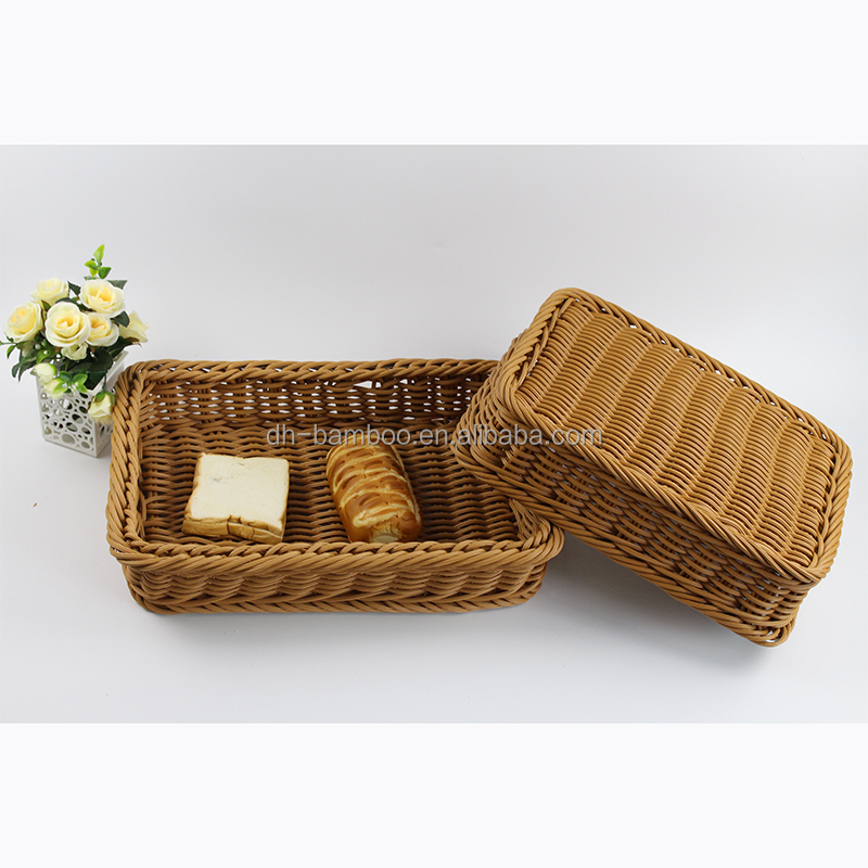 Eco-friendly Food Grade Plastic Rough Thick PP Bread Basket Storage Basket for Food Fruit Bread Sundries Wicker Basket