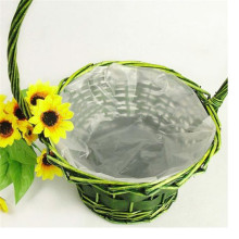 portable handmade wicker flower basket with plastic liners