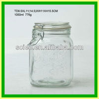 Glass unique cheap embossed snow clear 1l cookie jar