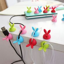 Lovely rabbit customized cheap soft silicone unique retractable cable winder cable management