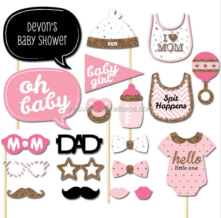 20 piece Pink Cute Princess Photo booth Props Baby Shower Gifts