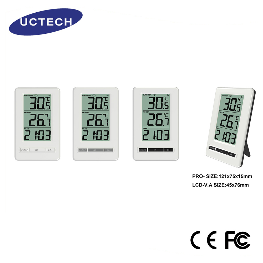 2017 new style white abs 24 hours Measurement FT0407 High precision Wireless Indoor/Outdoor Thermometer with stand