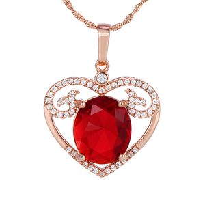P2 Wholesale red stone heart pendant, heart shaped photo frame pendant
