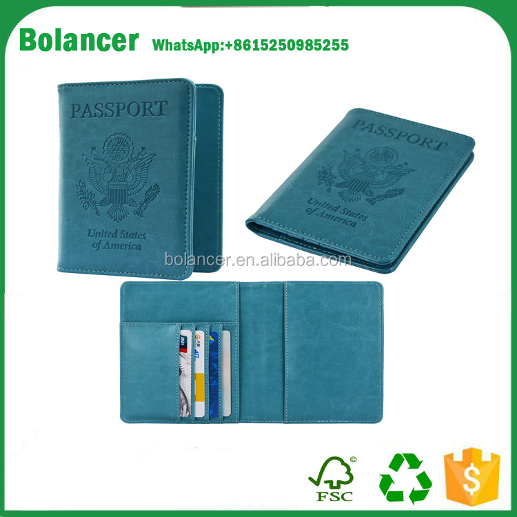 Customized Luxury travel card wallet leather personalized passport holder