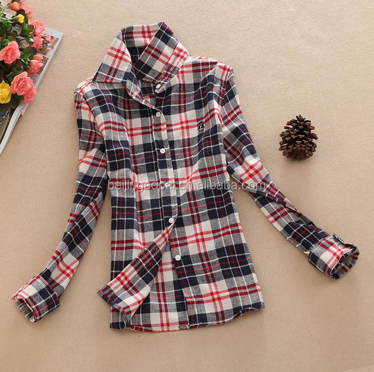Custom 2016 new cotton plaid 100% cotton designer blouses for women