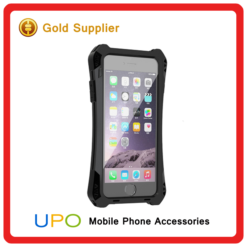 "[UPO] For iPhone 6 4.7"" Waterproof Case Carbon Fiber Silicone Back + Aluminum Metal Cover Case for iPhone 6"
