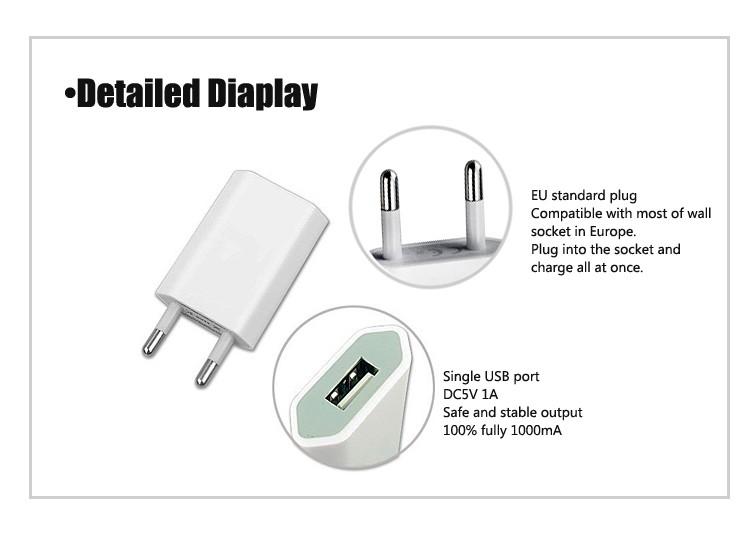 hotsales eu plug 5v1a single slim usb battery wall charger