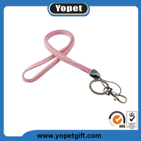 Beautiful custom cord rhinestone lanyards with keychain,USB and ID badge holder