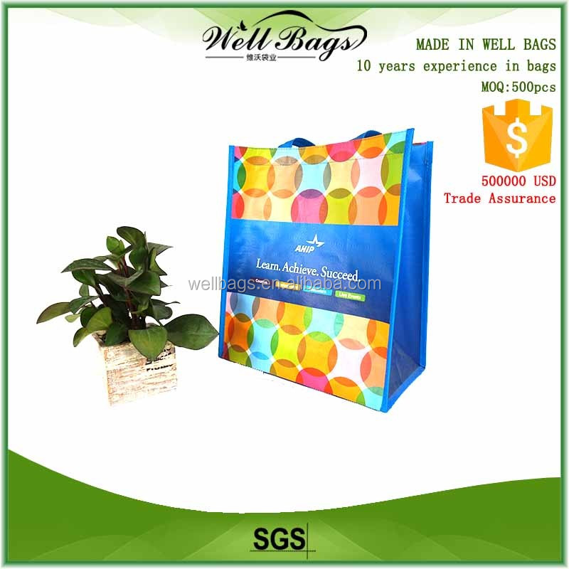 Custom matt laminated PP woven waterproof Wood texture shopping eco friendly reusable bag with 2 black plastic buttons