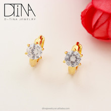 Brass gold plated earring jewelry White large single stone earring designs