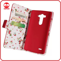 RF Manufacturer Floral Fabric Pouch Pocket Stand Wallet Flip Premium Leather Case for LG G3