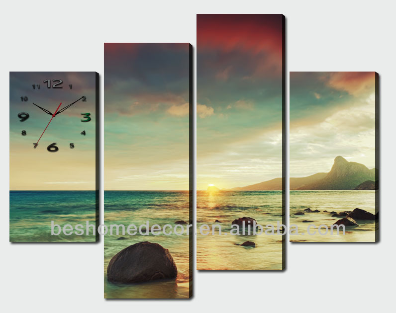 Hot selling wall clock theme abstract boat on the river
