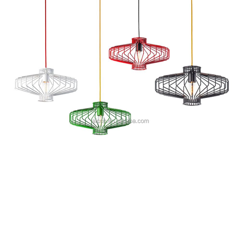 Decorative Hanging Pendant Light Wire Cage With Red Yellow Wiring A Fixture Blue Suspended Lighting Metal