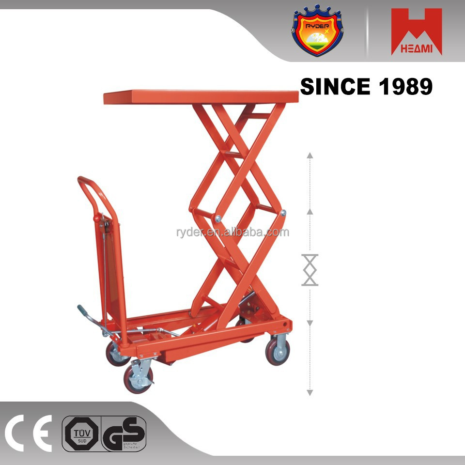 Manual hydraulic trolley heavy duty hydraulic trolley with table