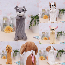 Custom High Quality Dog Animal Shape Toys Plush Pencil Case/Carton Dog Pencil Bags
