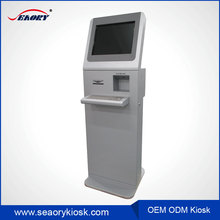 17 inch infrared touch screen kiosk with barcode scanner,self service rfid card reader kiosk with metal keyboard