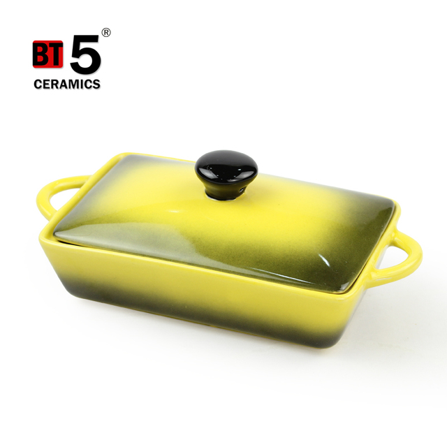 Double handles square shape gradually changing color casserole enamel set with lid
